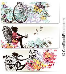Floral backgrounds set - Set of floral backs with flowers