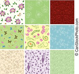 floral backgrounds with flowers - vector seamless patterns