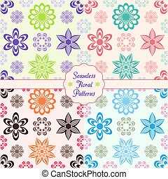 Floral backround - Beautiful seamless vector floral patterns...