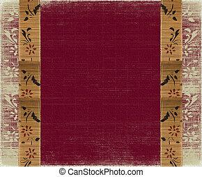 floral, bambú, bandera, marco, en, fondo rojo