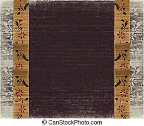 Floral bamboo banner frame on burned aubergine background