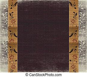Floral bamboo banner frame on burned aubergine background