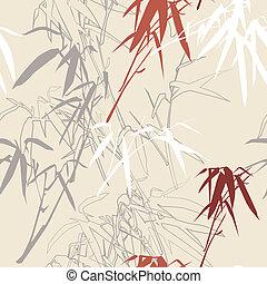 floral, bamboo., fundo