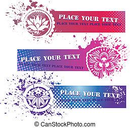 floral, bandeiras, elementos, grunge, coloridos