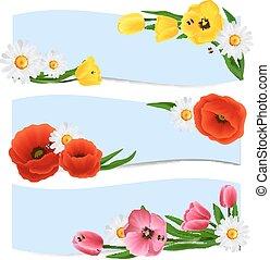 floral, bandeiras, horizontais