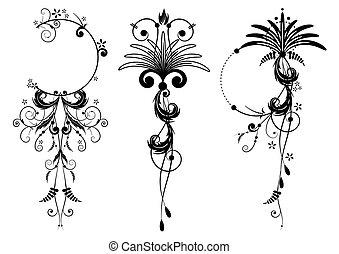 floral, banieren, set
