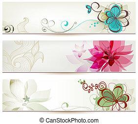 floral, banieren, stijl, retro