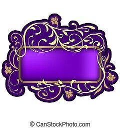 Floral banner 06 - highly detailed floral ornaments and violet glass banner