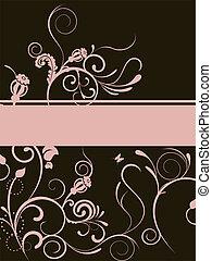 floral banner - floral elements on a brown background