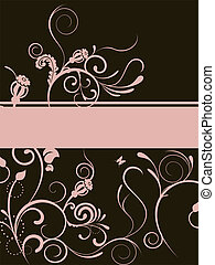 floral banner - floral elements on a brown background