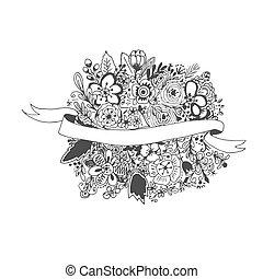 Floral banner, hand drawn, ink sketch, vector illustration