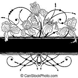 floral banner - vector banner with irises in black and white...