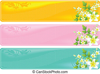 Floral banners - A set of three floral different colored ...