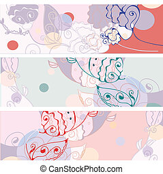 Floral banners abstract set in bright colors