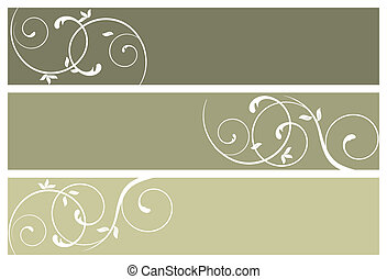 floral banners, vector illustration