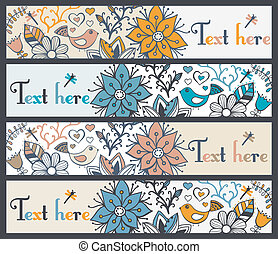 Floral banners, stylish floral banners, set of four horizontal, floral banners or bookmarks