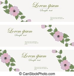 Floral banners vector retro style.