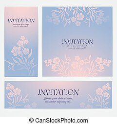 Floral banners with hand drawn flowers