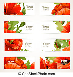 floral banners with red poppies