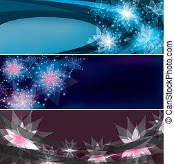 floral, bannières, clair, ensemble, horizontal