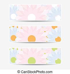 floral, bannières, conception, collection