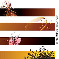 floral, bannières, fond