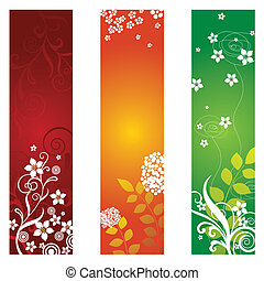 floral, bannières, trois