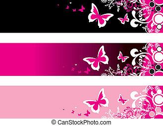 floral, bannières