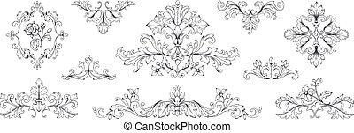Floral baroque ornaments. Vintage Victorian frame decorative...
