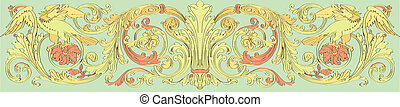 floral Baroque style - floral pattern with birds in the...