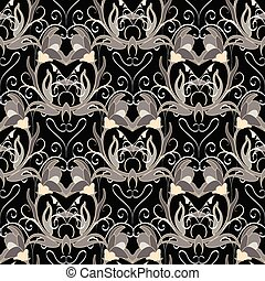 Floral baroque vector seamless pattern.  Ornate damask backgroun