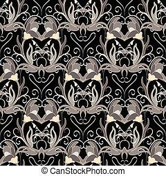 Floral baroque vector seamless pattern.  Ornate damask backgroun