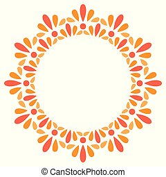 Floral basic frame, round stamp