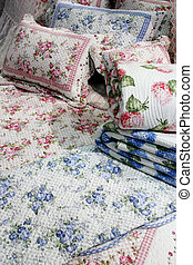 Floral bedding - home interiors - Pink and blue floral...
