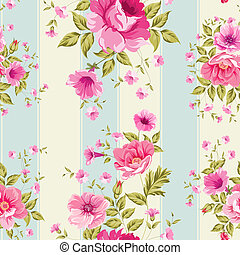 floral, behang, rozen