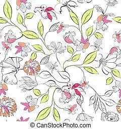 floral, behang, seamless
