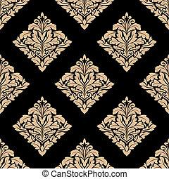 Floral beige damask seamless pattern