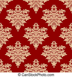 Floral beige on red seamless pattern