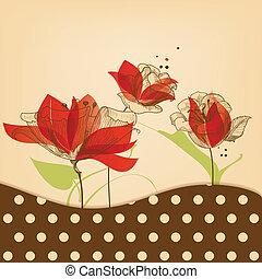 floral, beleza, retro, fundo