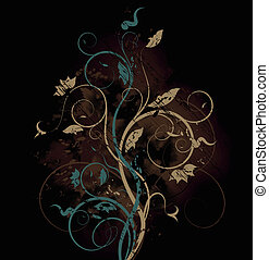 Floral bitmap background - Bitmap grunge background with...
