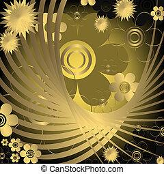 Floral black and golden  background