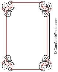 Floral black and red ornamental frame