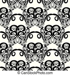 Floral black and white damask seamless pattern. Vector backgroun