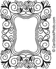 Floral black and white ornamental frame