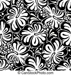 Vector Flowers Seamless Background Black White Floral Design