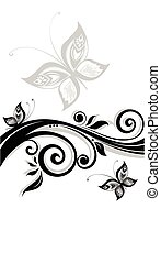 Floral black banner