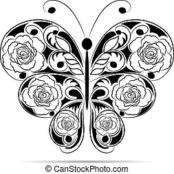 Floral black pattern in a shape of a butterfly isolated on white background.