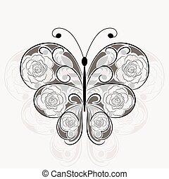 Floral black pattern in shape of a butterfly