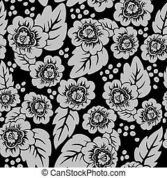 floral, black , seamless, achtergrond