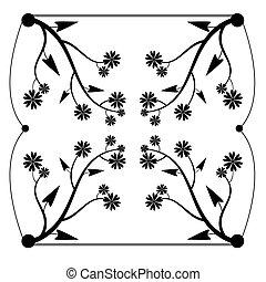floral, black , vrijstaand, seamless, back